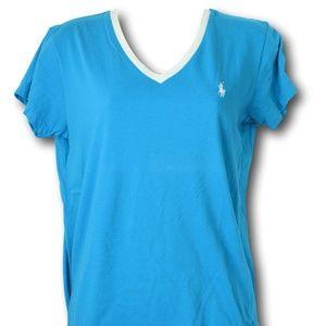Ralph Lauren Turquoise & White V-Neck T-Shirt M